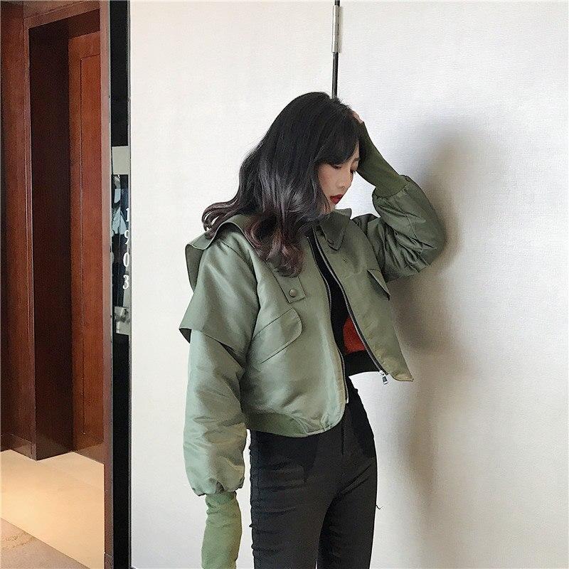 Picture Corée Lâche Dll1373 Femelle Printemps De Hiver Veste See Mode Complet Nouveau Stand Collier La Couleur Manteau Femmes Solide hg Manches 2019 Casual 0RBqqg