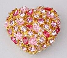 Pewter coração em forma de caixa de jóias de cristal de prata com flor floral design caixa de presente