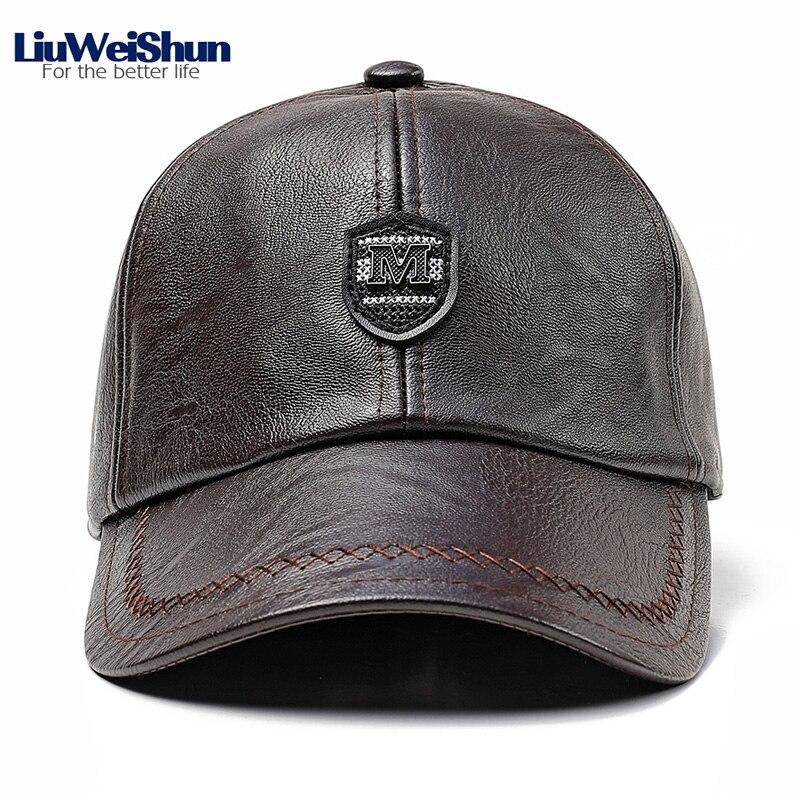 Letter M Shield Logo Faux Leather   Baseball     Cap   With Earflap Winter Elder Men PU Leather Thicken Dad Warm Hat Outdoor Head Wear