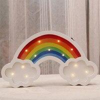 Rainbow Led Night Light Wooden Warm White Night Lamp Light Decorate Atmosphere Light For Children Baby