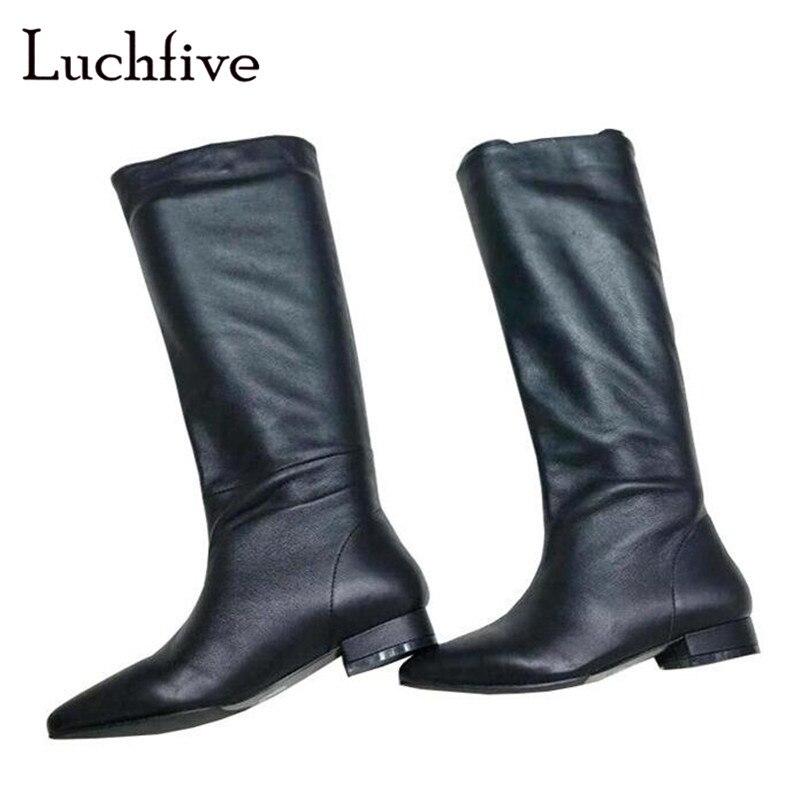 Популярные высокие сапоги из натуральной кожи, женские пикантные сапоги до колена с острым носком на низком квадратном каблуке, женская обу