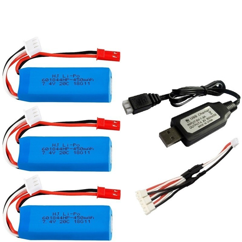 7.4V 450mAh Lipo Battery And USB Charger For WLtoys K969 K979 K989 K999 P929 P939 RC Car Parts 2s 7.4v Battery 3pcs