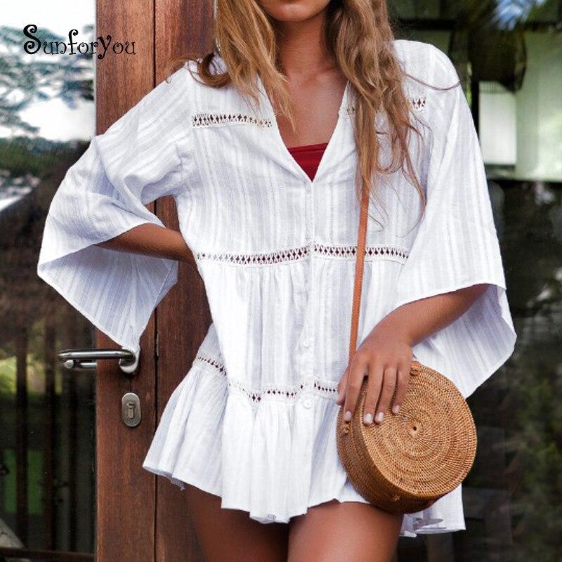 2019 Nuovo Stile Camicia Di Cotone Bianca Vestito Dalla Spiaggia Sarong Donne Casual Estate Sexy Del Mini Vestito Abiti Verano 2019 Delle Signore Prendisole Vacanza Parei Forte Imballaggio