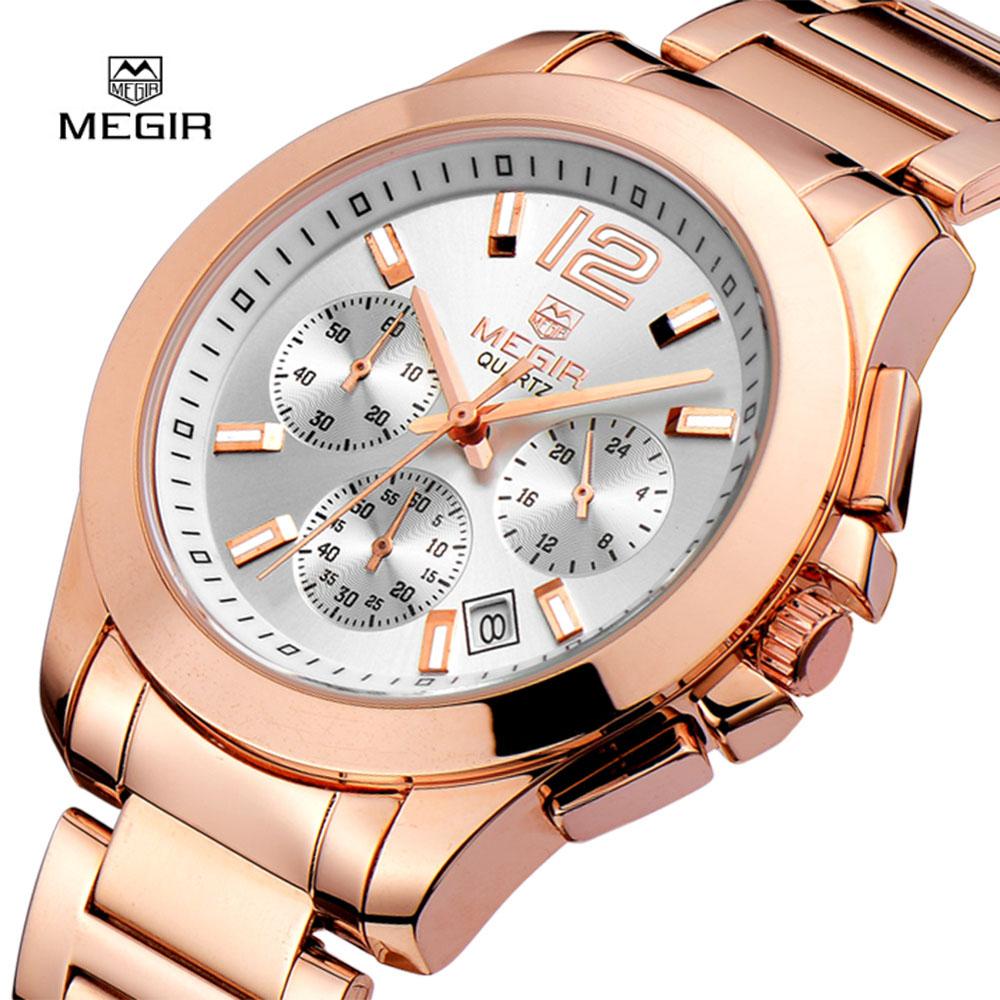 Prix pour MEGIR Femmes Montre À Quartz En Acier Inoxydable Montres De Mode De Luxe Dames Montre Marque Date Automatique Horloge Montre-Bracelet Relogio Feminino