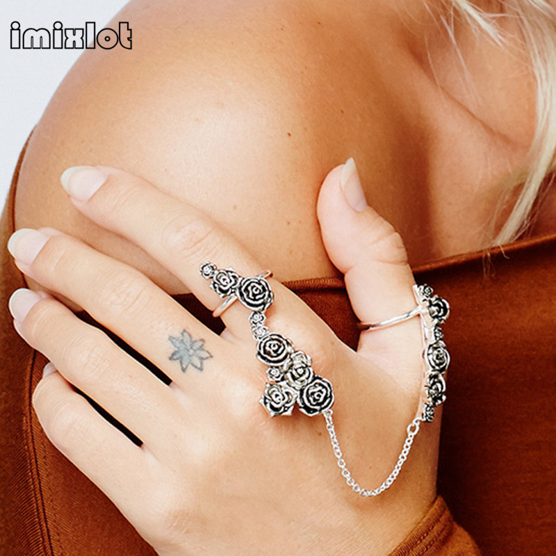 imixlot New Turkish Rings Women Antique Gold Plating Bijoux Exquisite Crystal Hand Back Chain Indian Floral Jewelry Gi