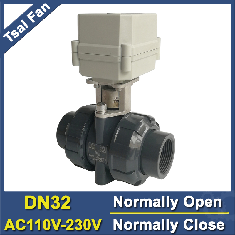 TF32-P2-C PVC DN32 BSP/NPT 1-1/4'' Electric Normally Open Normally Close Valve AC110V-230V 2/5 Wires 10NM Actuator On/Off 15 Sec ac110 230v 5 wires 2 way stainless steel dn32 normal close electric ball valve with signal feedback bsp npt 11 4 10nm