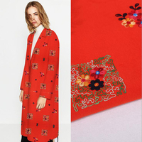2017 Autumn And Winter Embroidered Woolen Fabric Diy Embroidery Dress Coat Chinese Style Red Woolen Fabric