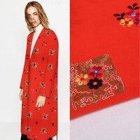 2017 Outono e Inverno de lã bordados tecido bordado diy tecido de lã casaco vestido estilo Chinês vestido vermelho com flores