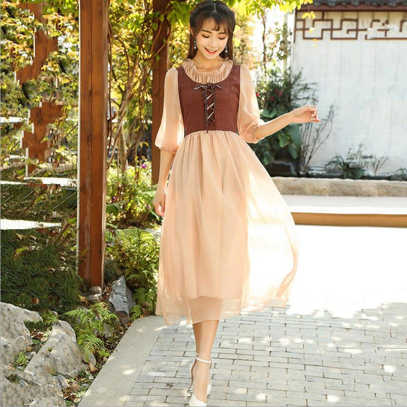 2018 new French pastoral style vintage lace up vest Fake two pieces spliced dress female high waist o-neck chiffon dress L251