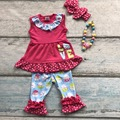 cotton egg love baby Ester day outfit girls SUMMER capris clothes hot pink polka dot boutique RUFFLE with matching Accessories