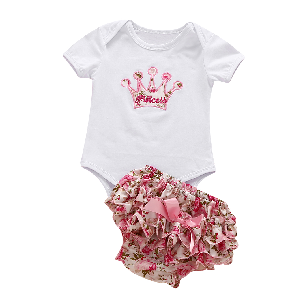 2017 New Summer Newborn Kids Girls Clothing Set cown printed shirt + Dress Baby Girls Suits Set fashion Children Girl Clothes