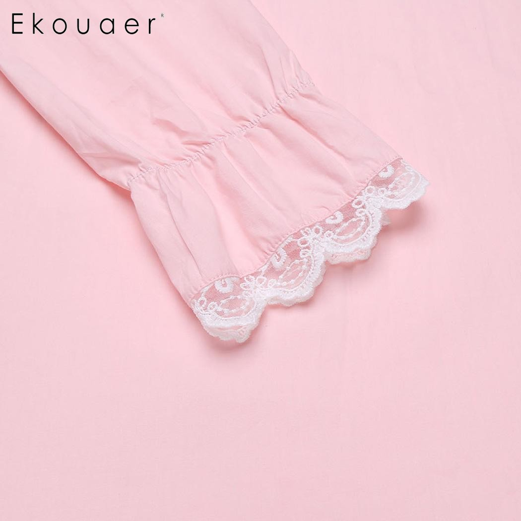 Ekouaer Elegant Solid Nightwear Women Victorian Nightgown Long Sleeve Sleepwear Lace Patchwork Ruffled Hem Night Dress Plus Size 5