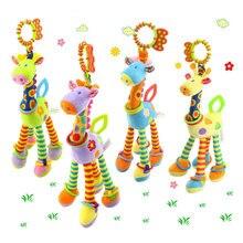 Плюшевые детские погремушки с оленем, мягкие детские колокольчики с жирафом, игрушки для прорезывания зубов,, мягкая кукла