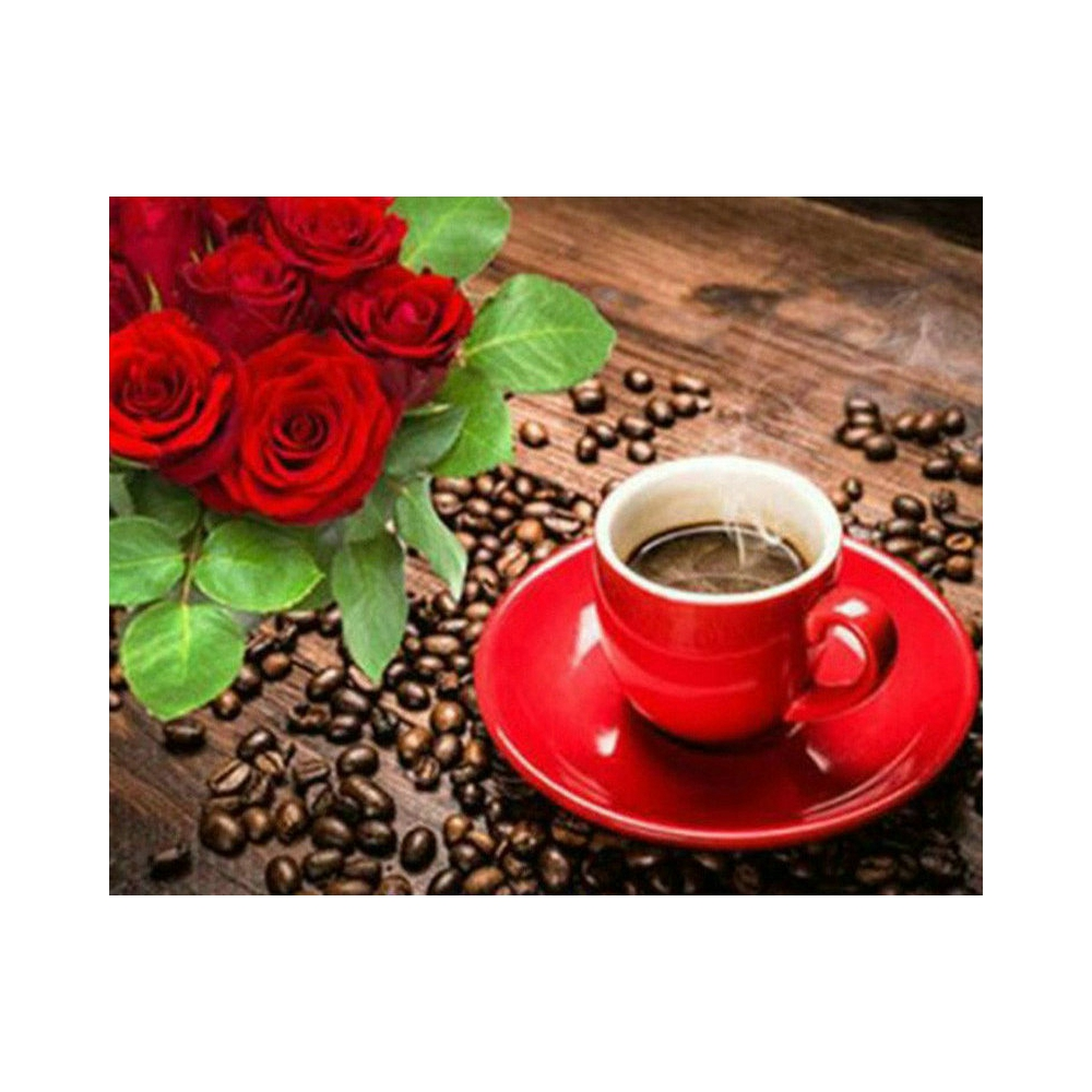 Diamond Embroidery Coffee rose Painting Cross Stitch Suite 5D DIY Full square, round Rhinestone Mosaic Decoration BV697