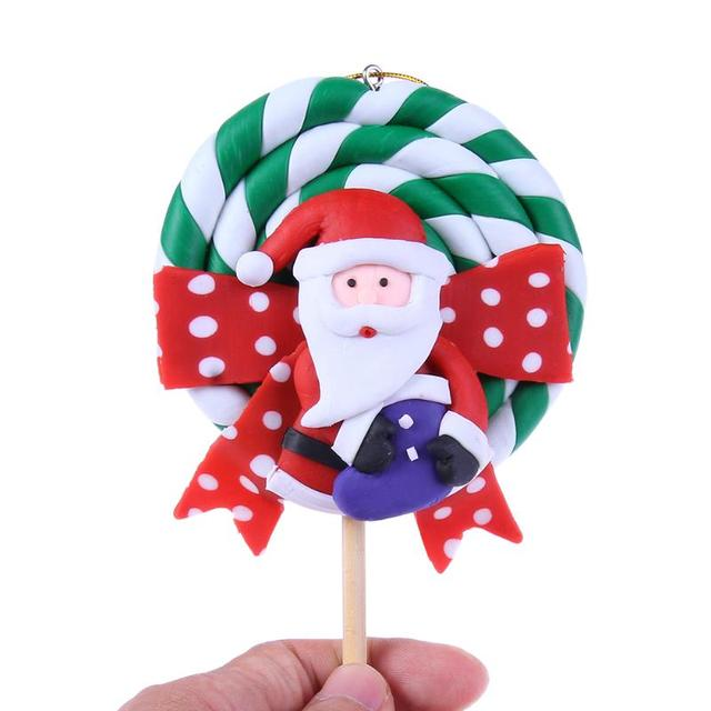 christmas ornaments christmas pet candy handmade lollipop shape santa claus doll drop pendant toys clay mall