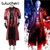 Devil May Cry 4 DMC4 Dante Cosplay Costumes PU leather Suits Uniforms Red Jacket Warm Cosplay Costume Made Full Set Any Size