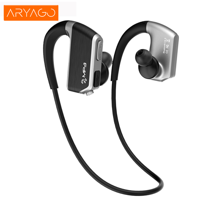 ARYAGO J2 Wireless Sport Running Stereo Bluetooth Headset with Mic For Phone Blue tooth Earphones +8GB Mp3 Player Two Play Mode rp sma female to y type 2x ip 9 ms156 male splitter combiner cable pigtail rg316 one sma point 2 ms156 connector for lte yota