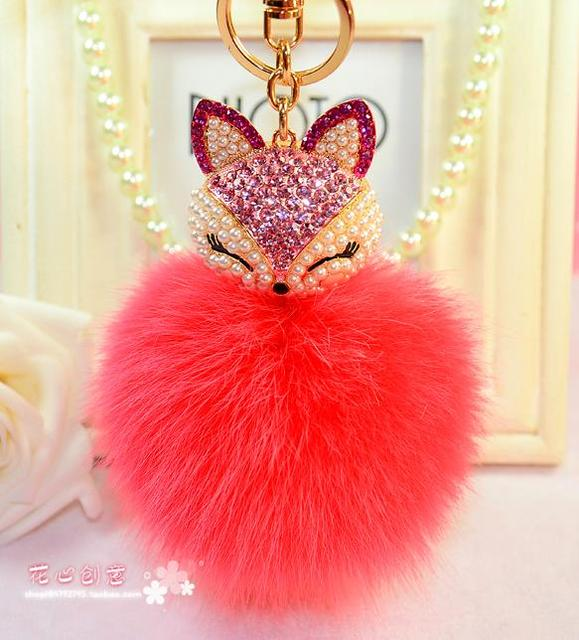 Fashion Jewelry 8cm fox hair ball crystal key chains key chain keychain for women Bag Pendant key ring free shipping