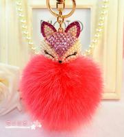 Fashion Jewelry 8cm Fox Hair Ball Crystal Key Chains Key Chain Keychain For Women Bag Pendant