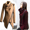New Autumn Winter Coat Women Irregular Collar Lapel Side Zipper Woolen Coat Women Loose Sweater Outwear Jacket Plus Size Manteau