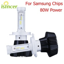 ISincer 12 В светодиодный фары автомобиля H4 H7 автомобиля голова лампа загорается 80 Вт 8000LM Глава лампы H1 H13 H11 светодиодный фонарь 6000 К стайлинга автомобилей лампы