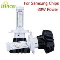 ISincer 12V LED Car Headlights H4 H7 Car Head Lamp Lights 80W 8000LM Head Bulbs H1