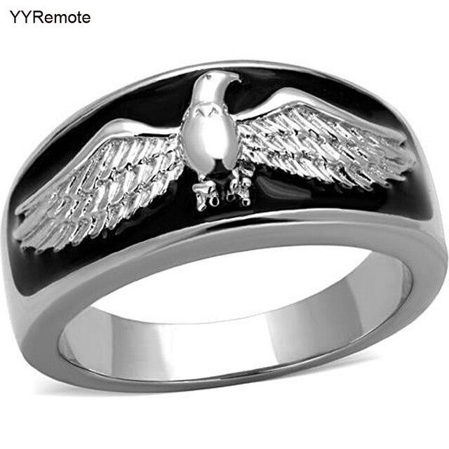 Chegada nova Eagles design anel Masculino Anel de aço inoxidável Preto Epóxi jóias da moda cheio de tamanho #8, #9, #10, #11, #12, #13