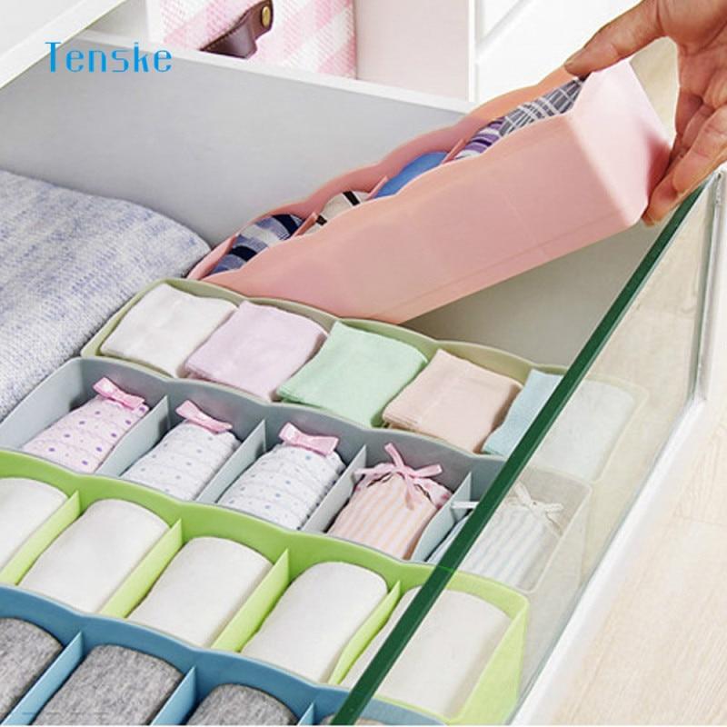 TENSKE 5 Celule Tie Sosete Sosete Drawer Cosmetice Divider Depozit - Organizarea și depozitarea în casă