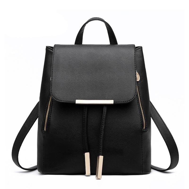 ФОТО Casual pu women's backpack solid schoolbag female backpacks women preppy style high quality brand mochila feminina
