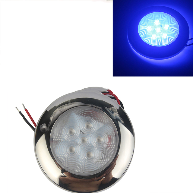 12V Marine Boat Yacht RV LED Light Stainless Steel Housing White Blue Dome Light Interior Lamp