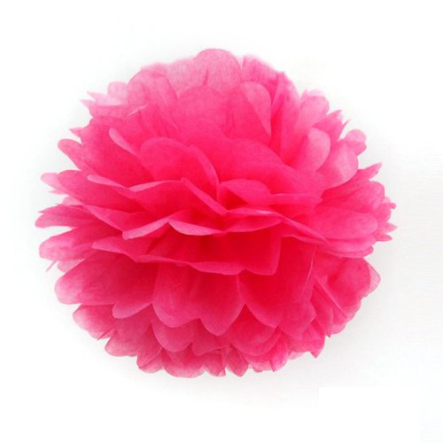 Paper Pom Poms For Birthday Party Wedding Annual Hot Pink 30cm(China)