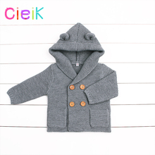 CieiK 2018 New Spring Baby Hooded Outwear Newborn Boys Jacket Rabbit Cute Infant Knitted Girls Clothes Kids Winter Coats