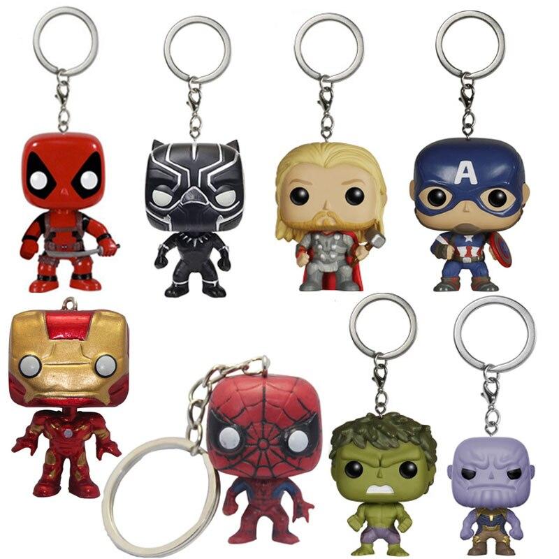 FUNKO POP Avengers: Endgame THANOS IRON MAN THOR Deadpool SpiderMan Hulk Keychain Action Figure Toys for Children Christmas gift Car phone
