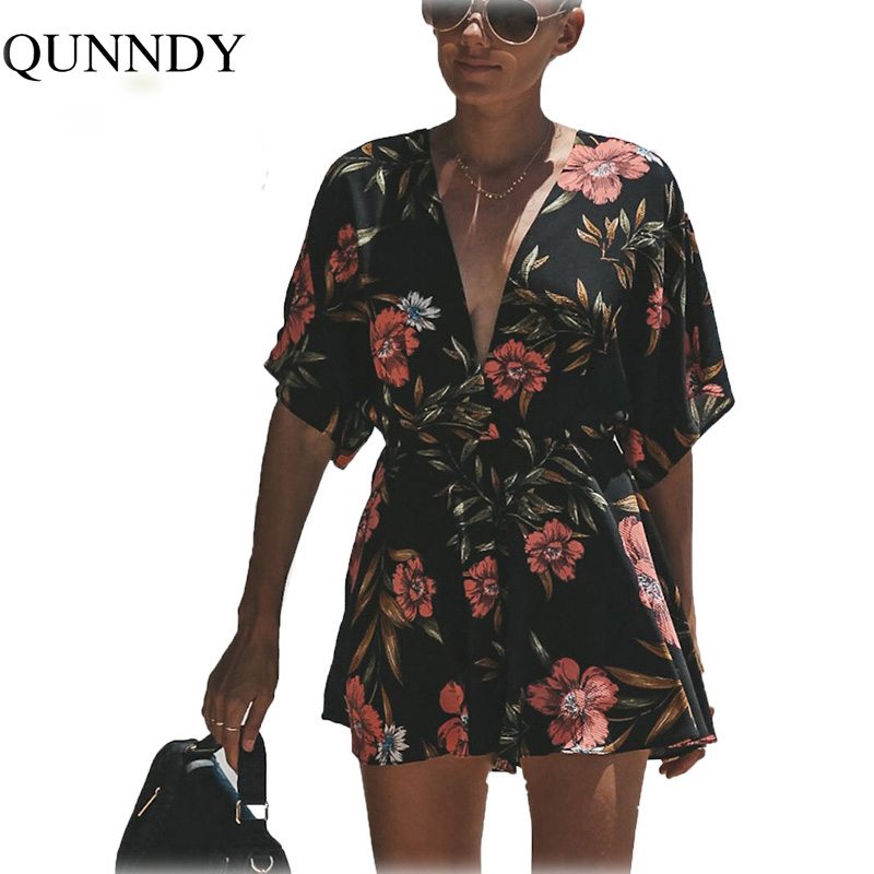 Qunndy Women Summer Print Playsuits Deep V neck Backless Multicolor Bohemian Rompers Short Sleeve High Waist Casual   Jumpsuit