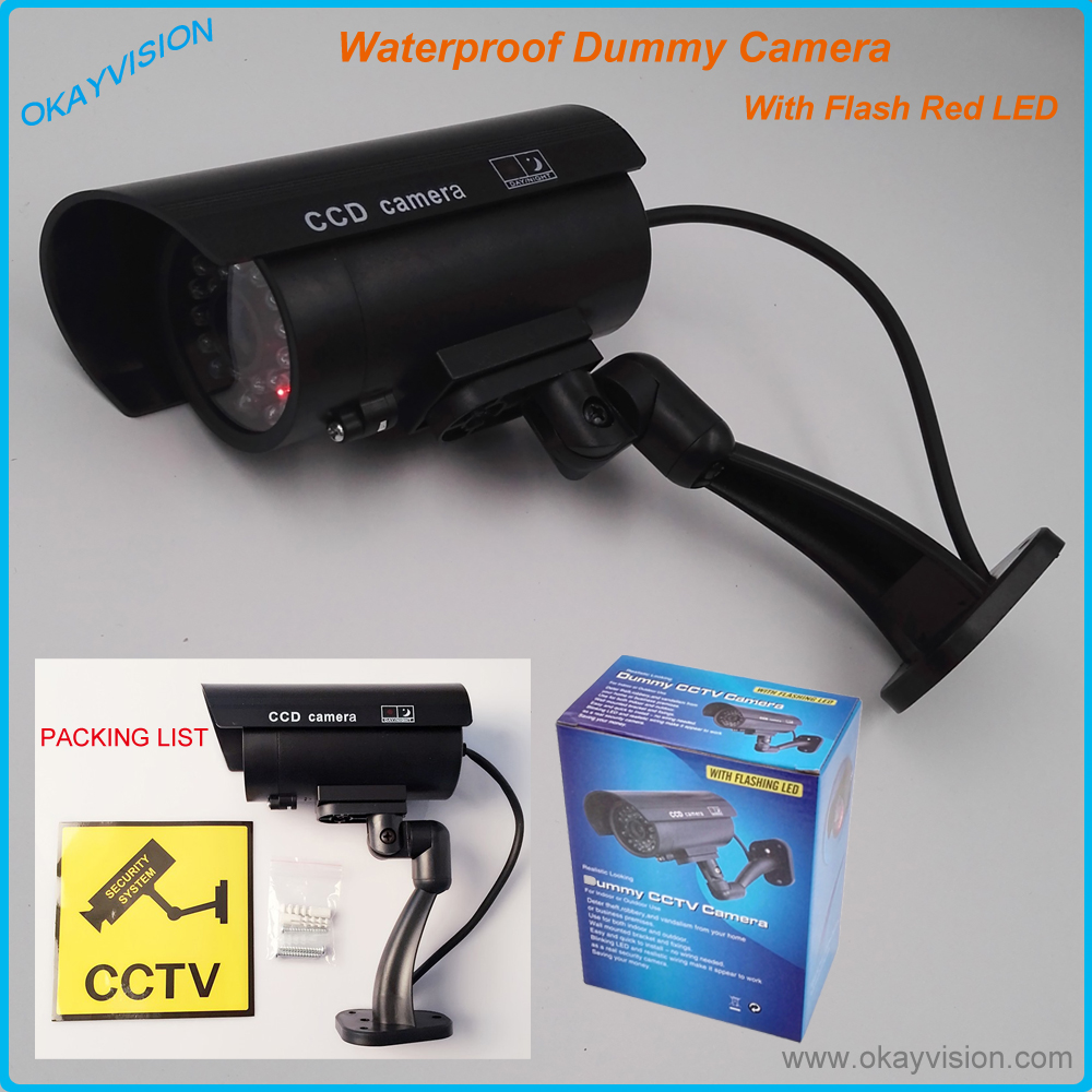 Waterproof Outdoor Indoor Fake Security Dummy CCTV Surveillance Camera Night CAM LED Light Black Fake Dummy Camera With LED waterproof dummy cctv camera with flashing led for outdoor or indoor realistic looking fake camera for security