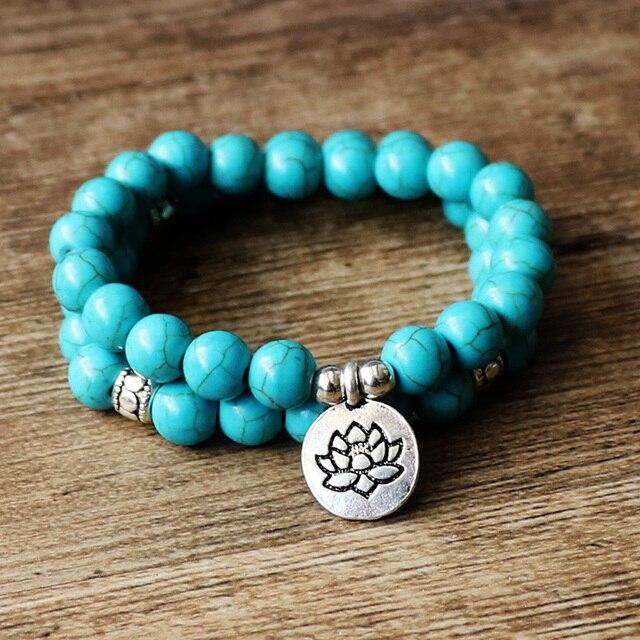Lotus Buddha Jewelry Yoga Mala Bracelet Stone Healing Protection Elastic Beaded Stacking Spiritual