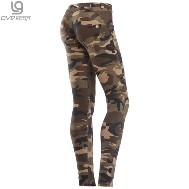 Mid Waist Leggings Plus Size Camouflage Push Up Hip Elastic Pants Bodybuilding Spandex Standard Trousers Polyster Pants