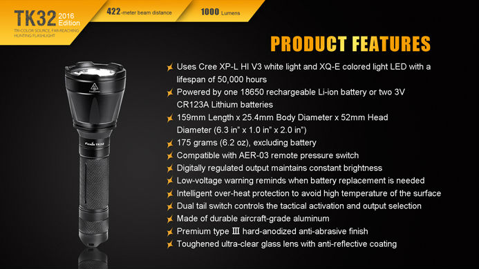 2016 Fenix TK32 1000 Lumens Tri-colour Source Far-reaching Hunting Flashlight