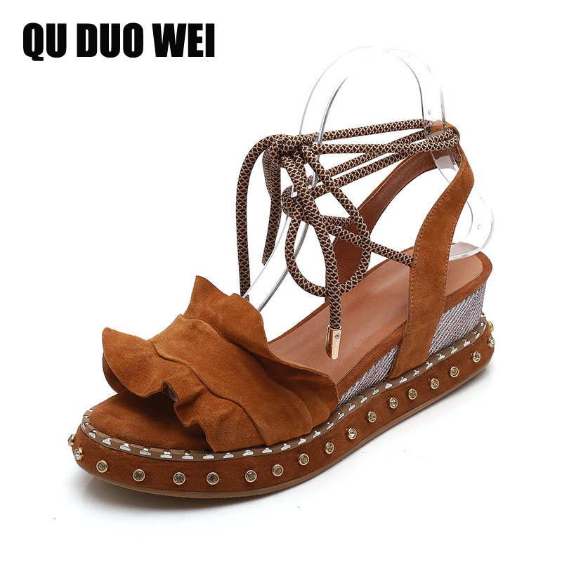 2018 New Pleated Genuine Leather Women Sandals Open Toe Ankle Strap Platform High Heels Shoes Woman Summer Beach Wedges Shoes woman fashion high heels sandals women genuine leather buckle summer shoes brand new wedges casual platform sandal gold silver