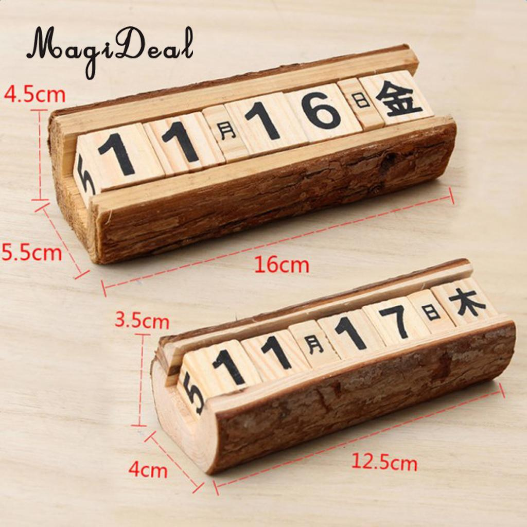 Shabby Chic Vintage Wooden Cubes Daily Perpetual Desktop Calendar Living Room Decoration Home Office Furnishing Crafts DIY