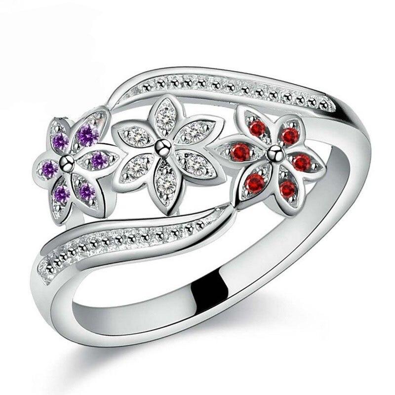 Aufrichtig Jemmin Neueste Design Drei Farbe Cz Blume Ring Für Frauen Mädchen Mode 925 Sterling Silber Ring Hochzeit Dame Schmuck Größe 7 8 9