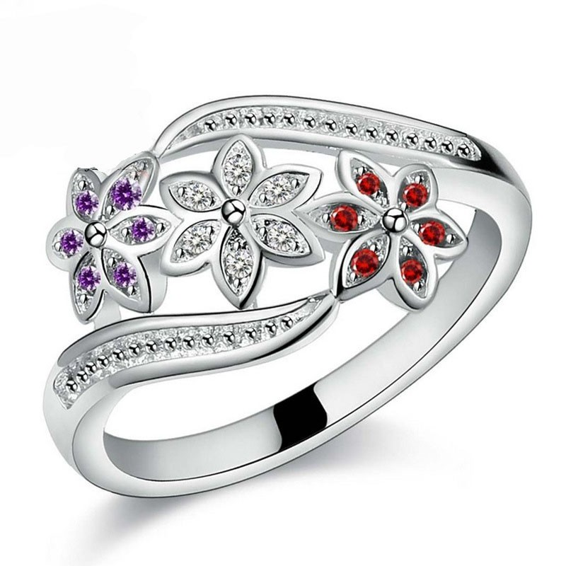 Newest Design Three Color CZ Flower Ring For Women Girls Fashion 925 Sterling Silver Ring Wedding Lady Jewelry Size 7 8 9