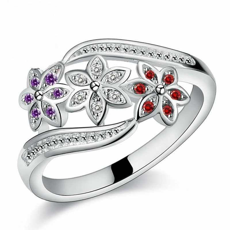 Newest Design Three Color CZ Flower Ring for Women Girls Fashion S90 Ring Wedding Lady Jewelry Size 7 8 9