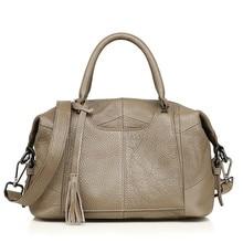 цена на Organizer genuine leather women's bag over shoulder boston messenger handbag designer high quality cowhide clutch bolsos mujer