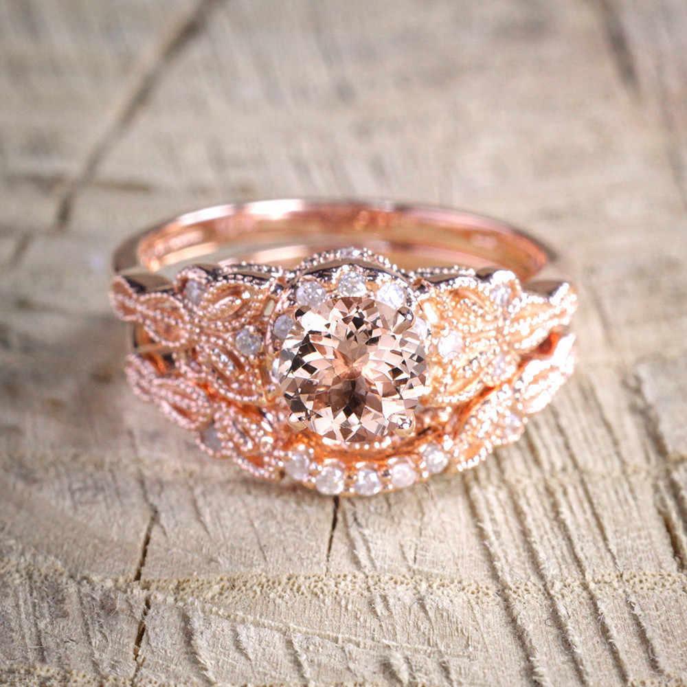 2019 ใหม่แฟชั่นผู้หญิง 1 คู่แหวนแฟชั่น/ชุด Rose Gold Filled หมั้นแหวนสำหรับผู้หญิงนิ้วมือ