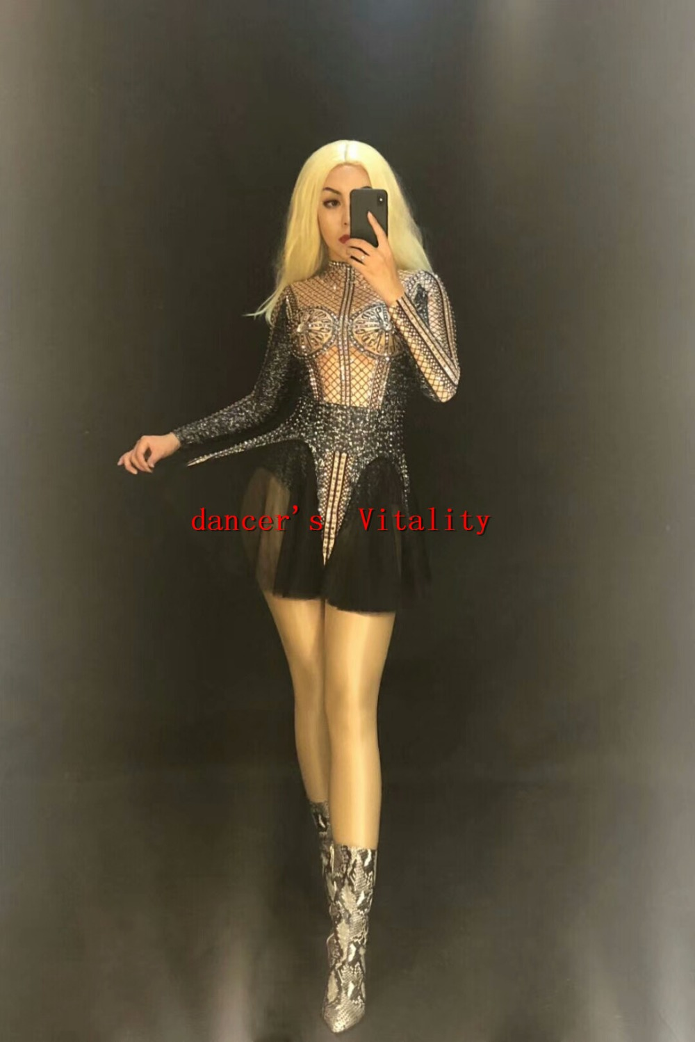Chinese Folk Dance Sparkly Crystals Black Jumpsuit Stretch Ds Pearl Stretch Outfit Celebrate Bright Rhinestones Bodysuit Female Singer Costume Novelty & Special Use