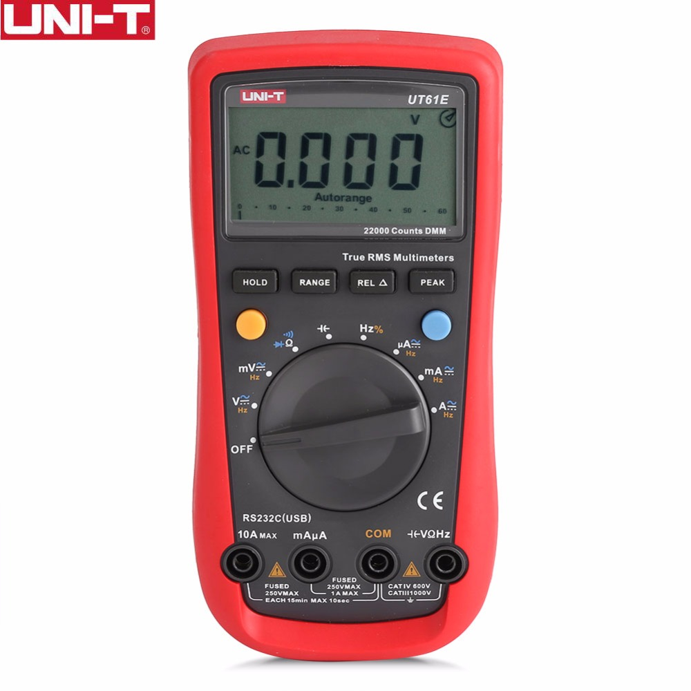 UNI-T UT61E Digital Multimeters Meter Digital Multimeter Auto Range True RMS Peak Value RS232 REL AC/DC Amperemeter Voltmeter aimo m320 pocket meter auto range handheld digital multimeter