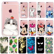 Cartoon Cat Leaves Case For Coque iphone 7 6s 6 8 plus se 5s 5 Silicone Lovely Soft Ultra Thin Phone Bags Cover For iphone 6(China)