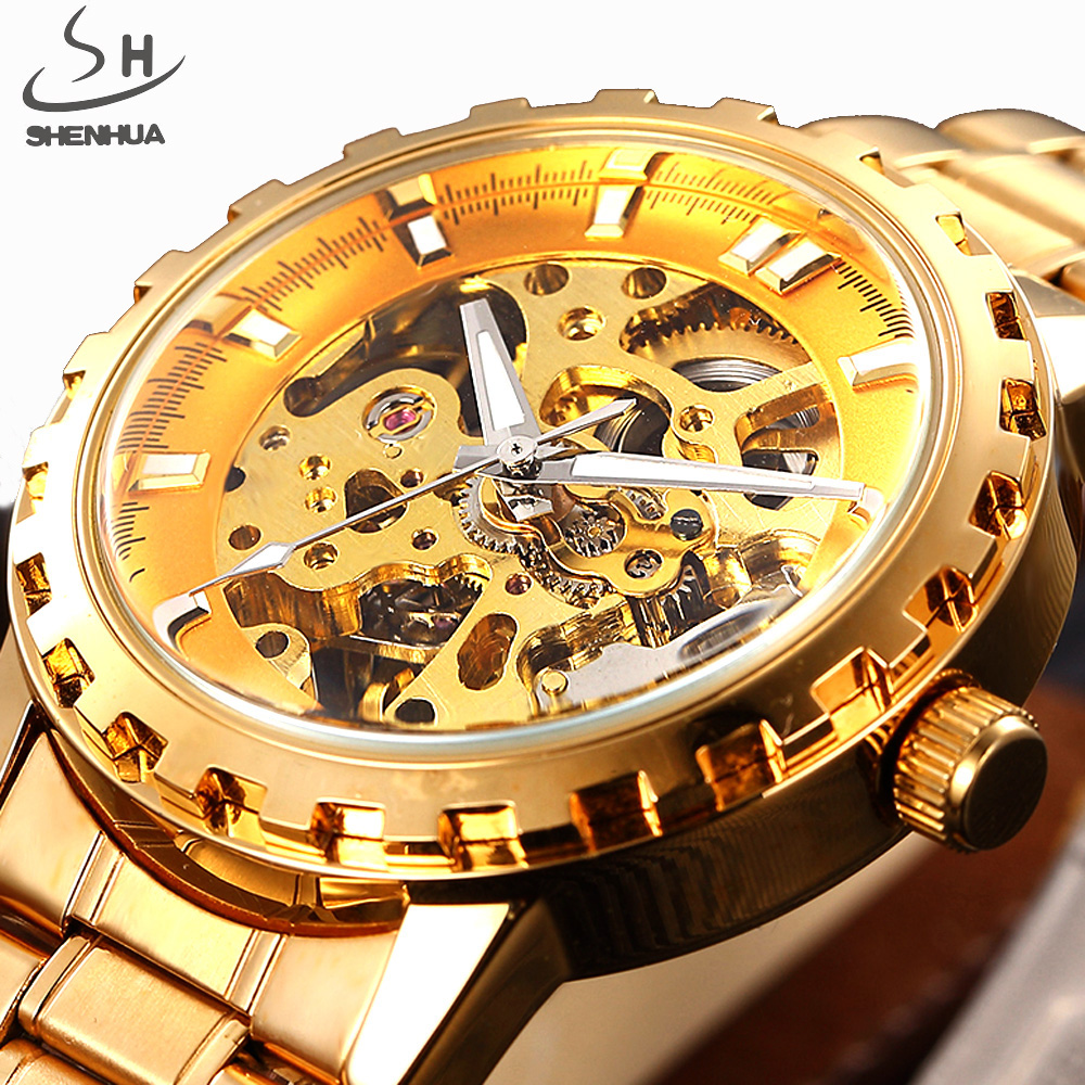 SHENHUA Gold Automatic Watch Men Luxury Skeleton Mechanical Watch Men Stainless Steel Watch Clock Business Relogio Masculino shenhua luxury gold flywheel automatic mechanical skeleton watch men male waterproof clock hollow transparent watch wrist watch