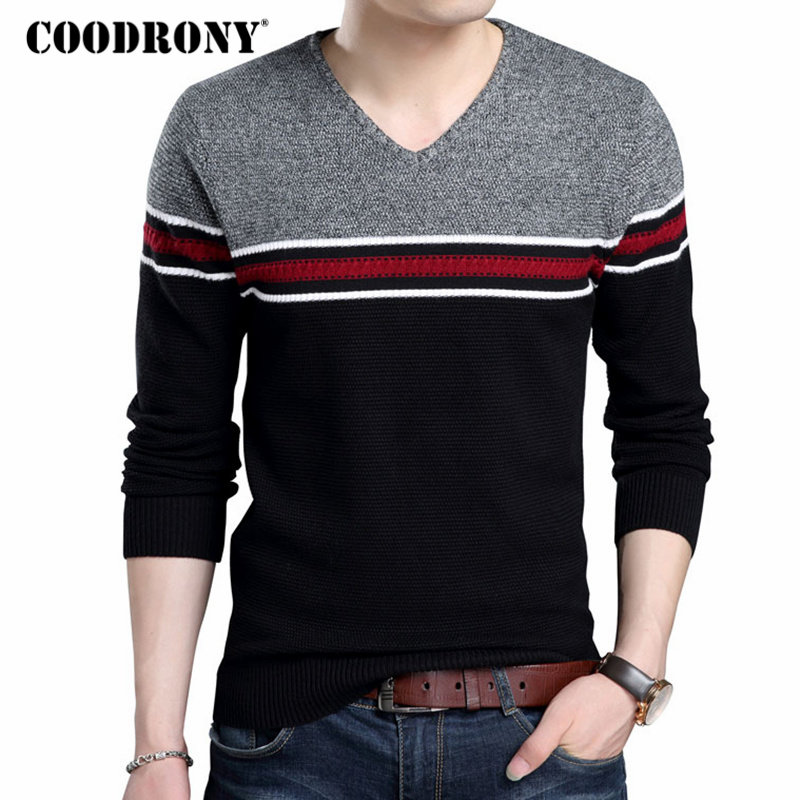 COODRONY Brand Sweater Men Casual Striped V-Neck Pull Homme Knitted Pullover Men Autumn Winter Thick Warm Slim Fit Sweaters 8165